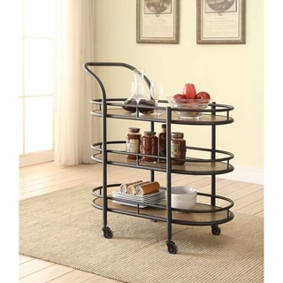 Acme Barros Oak/Black Wood Metal Serving Cart