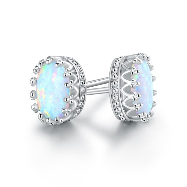 White Opal Gold Plated Crown Stud Earrings