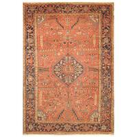 Handmade Herat Oriental Persian Hand-Knotted Tribal Antique Heriz 1900's Wool Rug (7'8 x 10'10) - 7'8 x 10'10