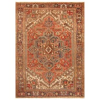 Handmade Herat Oriental Persian Hand-Knotted Tribal Antique Heriz 1920's Wool Rug (8'6 x 10')