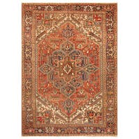 Handmade Herat Oriental Persian Hand-Knotted Tribal Antique Heriz 1920's Wool Rug - 8'6 x 10'