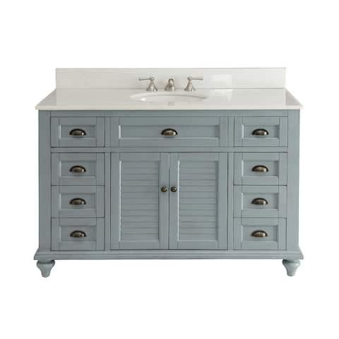 "49"" Glennville Bathroom Sink Vanity w/ Matching BS - Blue"