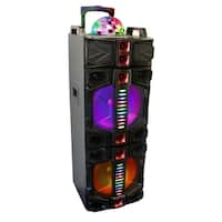 beFree Sound Dual 12 Inch Subwoofer Bluetooth Portable Party Speaker With LED Lights