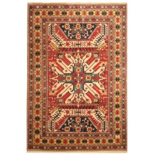 Handmade Herat Oriental Turkish Hand-Knotted Kazak 1960's Wool Rug (Turkey) - 7'10 x 10'3