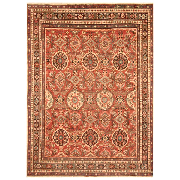 Handmade Herat Oriental Persian Hand-Knotted Tribal Mahal 1940's Wool Rug (9' x 12') - 9' x 12'