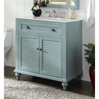 34'' Glennville Marble Top Bathroom Sink vanity with MIR/BS - Blue