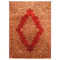 Handmade Herat Oriental Persian Hand-Knotted Tribal Sarouk 1920's Wool Rug - 8'8 x 11'8