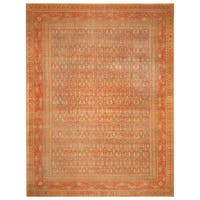 Handmade Herat Oriental Persian Hand-Knotted Tribal Tabriz 1900's Wool Rug (9' x 11'10) - 9' x 11'10