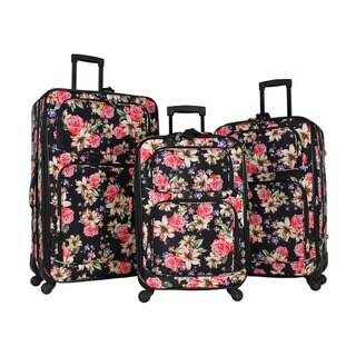 World Traveler Flower Bloom 3-piece Rolling Expandable Spinner Luggage Set