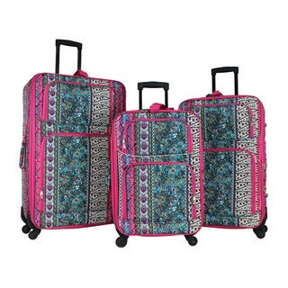 World Traveler Artisan 3-piece Rolling Expandable Spinner Luggage Set