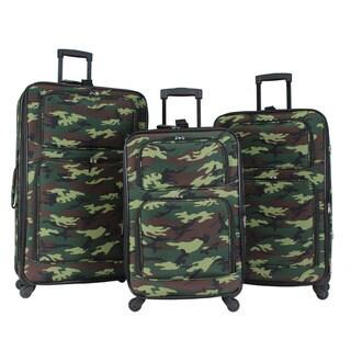 World Traveler Camouflage 3-piece Rolling Expandable Spinner Luggage Set