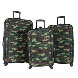 World Traveler Camouflage 3-piece Rolling Expandable Spinner Luggage Set