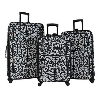 World Traveler Damask 3-piece Rolling Expandable Spinner Luggage Set