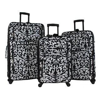 World Traveler Damask 3-piece Rolling Expandable Spinner Luggage Set