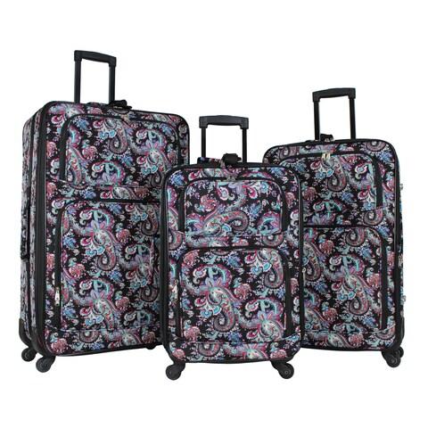 World Traveler Paisley 3-piece Rolling Expandable Spinner Luggage Set