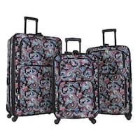 World Traveler Paisley 3-piece Rolling Expandable Spinner Luggage Set