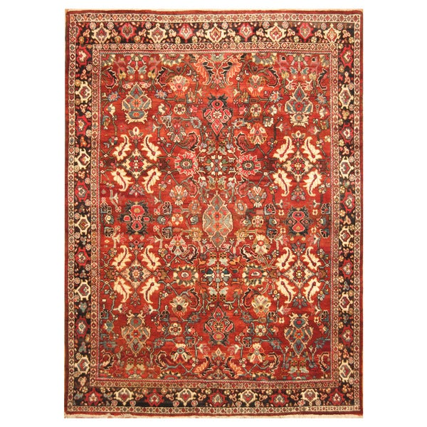 Handmade Herat Oriental Persian Hand-Knotted Tribal Mahal 1940's Wool Rug (7'7 x 10'10) - 7'7 x 10'10