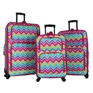 World Traveler Chevron 3-piece Rolling Expandable Spinner Luggage Set