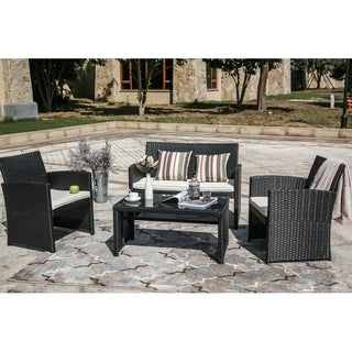 PATIO FESTIVAL ® Clearwater 4 Piece Wicker Patio Leisure Set w/ Cushions