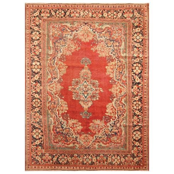Handmade Herat Oriental Persian Hand-Knotted Tribal Sarouk 1920's Wool Rug (8'3 x 11'6) - 8'3 x 11'6