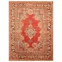 Handmade Herat Oriental Persian Hand-Knotted Tribal Sarouk 1920's Wool Rug (Iran) - 8'3 x 11'6