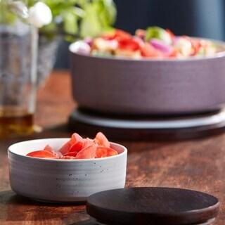 Libbey Urban Story 2-piece Small, Grey Ceramic Bowl Set with Lids
