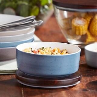 Libbey Urban Story Medium, Blue Ceramic Bowl with Lid