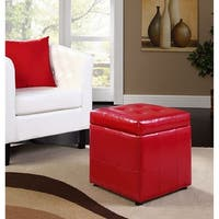 Estero Red Leatherette Tufted Square Ottoman with Storage