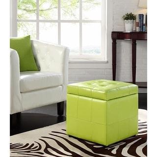 Estero Light Green Leatherette Tufted Square Ottoman with Storage