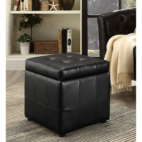 Estero Black Leatherette Tufted Square Ottoman with Storage