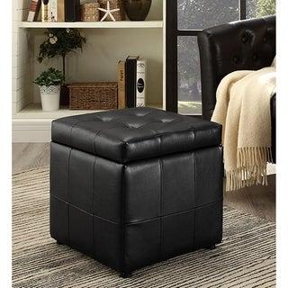 Estero Black Leatherette Tufted Square Ottoman with Storage