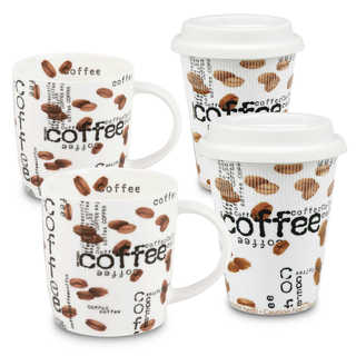 Konitz Set of 4 Assorted Coffee Collage To Stay/To Go Mugs