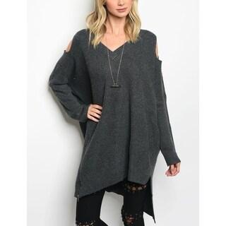 JED Women's Oversized Asymmetrical Chunky Knit Sweater Tunic