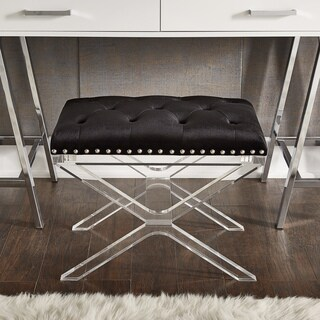 Urbana Black Tufted Velvet Fabric Nailhead Trim X-Shape Trestle Base Bench by iNSPIRE Q Bold