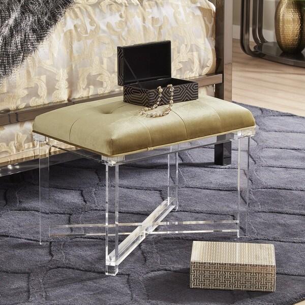 Shop Sheridan Tufted Velvet Acrylic X Base Bench By