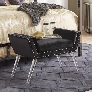 Corin Velvet Fabric Nailhead Trim Acrylic Leg Bench by iNSPIRE Q Bold