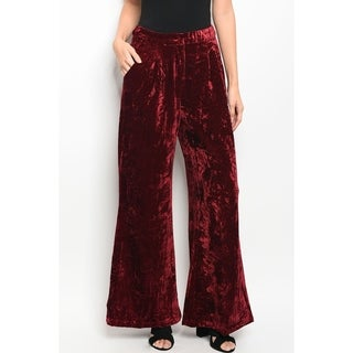 JED Women's Zip-Up High Waist Wide Leg Velvet Palazzo Pants