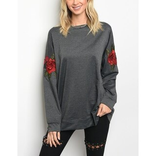 JED Women's Rose Patch Long Sleeve Relax Fit Sweatshirt Top