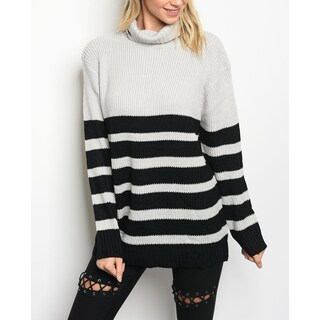 JED Women's Cowl Neck Chunky Knit Striped Sweater