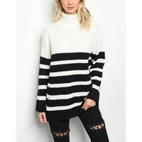 JED Women's Cowl Neck Chunky Knit Striped Sweater
