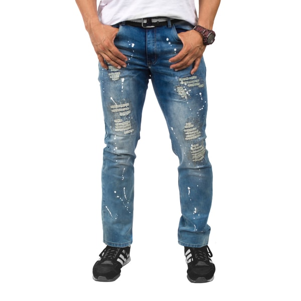 BROOKLYN LAUNDRY Men's Ripped Slim Fit Jeans