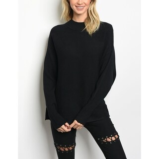 JED Women's Mock Neck Dolman Sleeve Black Sweater