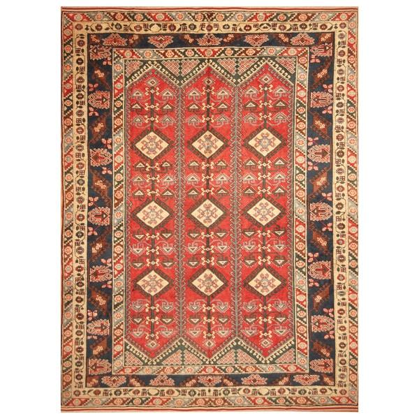 Handmade Herat Oriental Turkish Hand-Knotted Tribal Kazak 1940's Wool Rug (8'9 x 12') - 8'9 x 12'