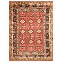 Handmade Herat Oriental Turkish Hand-Knotted Tribal Kazak 1940's Wool Rug (Turkey) - 8'9 x 12'