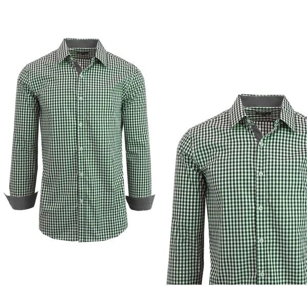 Mens Short Sleeve Shirt Plaid Gingham Check Slim Fit Dress Casual Button Down