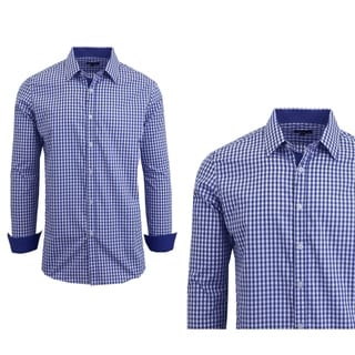Link to Galaxy by Harvic Men's Long Sleeve Checkered Button Down Dress Shirts Similar Items in Shirts