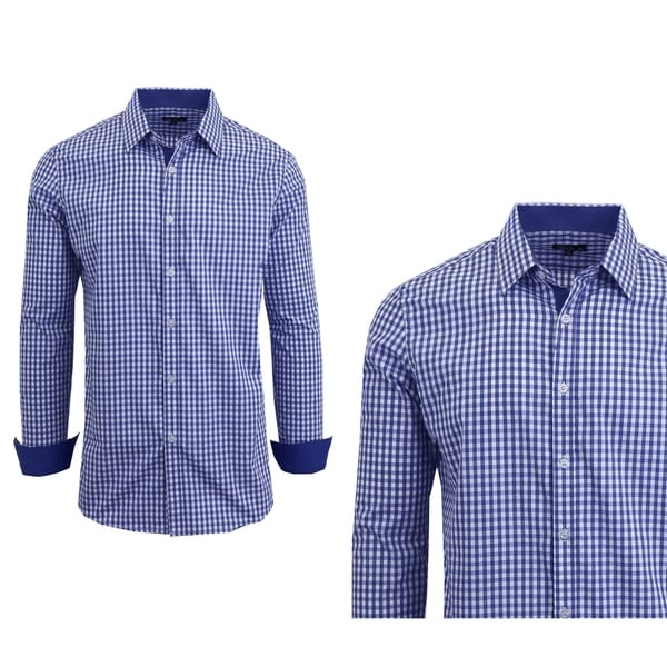 Galaxy By Harvic Mens Long Sleeve Checkered Button Down Dress Shirts by  #2