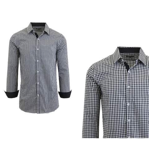 Galaxy by Harvic Men's Long Sleeve Checkered Button Down Dress Shirts