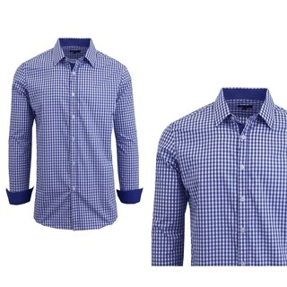 Galaxy By Harvic Men's Long Sleeve Checkered Button Down Dress Shirts