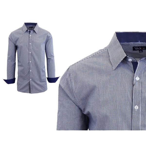 Cromoncent Mens Plus Size Lapel Neck Plaid Pocket Button Down Shirts